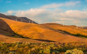 Picture autumn, the sky, grass, trees, mountains, hills, windmill