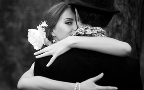 Wallpaper love, black and white, hat, bracelet, girl, love, bow, Sergi, looks, boy, obnimayutsya