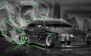 Picture Night, The city, Smoke, Neon, Green, Machine, Style, Wallpaper, City, Drift, Toyota, Drift, Car, Art, …