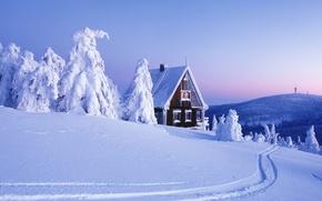 Wallpaper snow, house, Winter