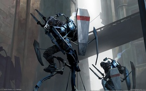 Picture bow, soldiers, shield, soldier, stilts, dishonored