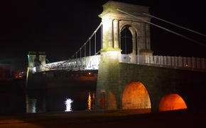 Picture night, bridge, the city, lights, river, support
