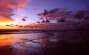 Picture sea, clouds, sunset, people, Bali