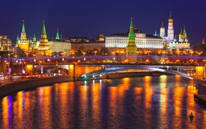 Picture reflection, Russia, Moscow, The Kremlin, city, lights, Russia, night, Moscow, Kremlin, river