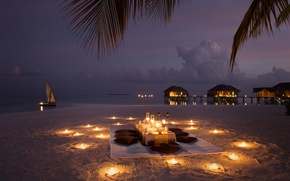 Wallpaper boat, candles, romance, beach, Bungalow, the evening, the ocean, dinner
