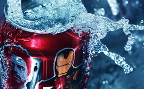 Wallpaper water, squirt, Bank, red, Iron Man, tin