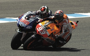 Picture Motorcycle, Honda, MotoGP, Spain, Yamaha, Jorge Lorenzo, Marc Marquez