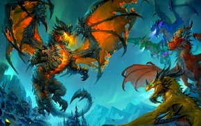 Picture dragons, wow, cataclysm, Deathwing, deathwing, the dragon aspects, world of wacraft