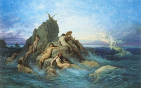 Picture sea, wave, the sky, clouds, rocks, picture, myth, Gustave Dore, sea Naiads