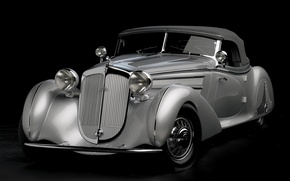 Picture retro, silver, Roadster, twilight, the front, 1938, beautiful car, Horch, Special Roadster, by Erdmann &Rossi, …