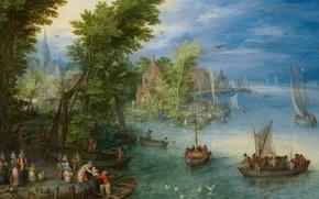 Wallpaper River Landscape, people, Jan Brueghel the elder, picture, boats