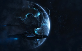 Picture SHIP, PLANET, STARS, SPACE