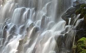 Picture squirt, stones, moss, Oregon, threads, Ramona Falls