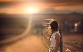 Picture road, girl, space, bokeh