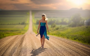 Picture road, girl, the way, space, barefoot