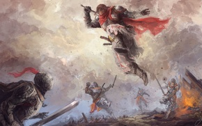 Picture weapons, fire, jump, smoke, armor, battle, Warriors, swords