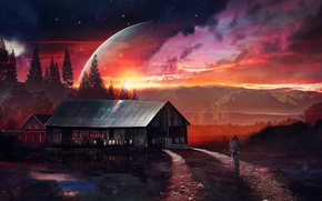 Picture bike, Home, mountains, Planet, glow, road, Stars, planet, house, girl, fantasy, night, the sky, stars, ...