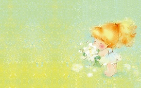 Picture summer, flowers, mood, art, girl, clearing, a bunch, Catherine Attendants, children's. summer