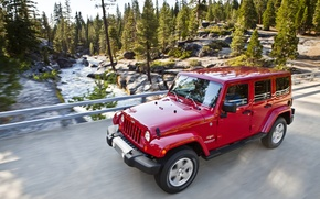 Picture Red, Road, Jeep, Sahara, Wrangler, Jeep