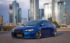 Picture city, Mitsubishi, Lancer, wheels, Evolution, blue, hrome