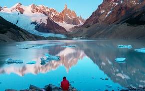 Picture ice, snow, mountains, lake, stones, Argentina, Patagonia, Cerro Torre