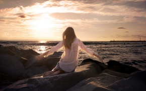 Picture sea, girl, sunset, stones, mood