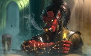 Picture girl, fire, the demon, lighter, cigar, the devil, fist, fan art, hellboy, Hell girl jigoku