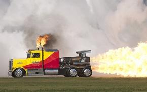 Picture grass, flame, smoke, turbine, track, Truck, Trak