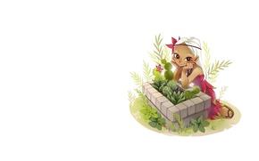 Picture flowers, mood, anime, cactus, art, girl, flowerbed, fairy, demska