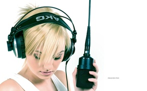 Wallpaper headphones, microphone, mr sexobit, alexandra stan
