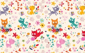 Picture cat, summer, flowers, tangle, butterfly, the game, children's, thread