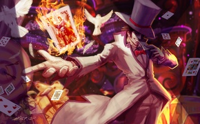 Picture card, fire, hat, art, pigeons, male, League of Legends, LoL, the magician, Twisted Fate