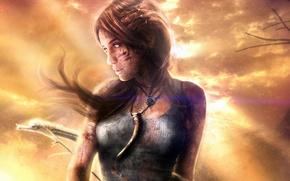 Picture girl, the wind, art, Tomb Raider, Fang, Lara Croft