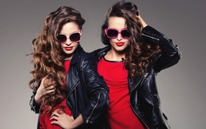 Picture style, girls, hair, glasses, face, model, jackets