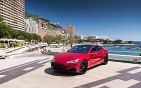 Picture beach, resort, Tesla, Monaco, Model S, 2015, Elizabeth