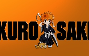 Picture sword, game, Bleach, anime, chibi, katana, boy, asian, Kurosaki Ichigo, manga, Teddy bear, japanese, Shinigami, …