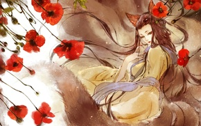 Picture the wind, Maki, Girl, scarf, tail, red, ears, long hair