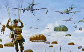 Picture figure, art, 1944, skydivers, Market Garden, Dutch operation, land in Holland, the military operation of …