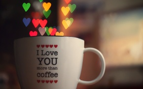 Picture love, lights, heart, Cup, soft light, bokeh