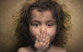 Picture portrait, surprise, girl, curls