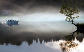 Wallpaper landscape, fog, lake, tree, boat, morning