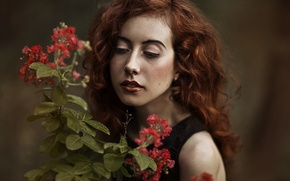 Picture girl, face, background, hair, plant, lipstick, lips