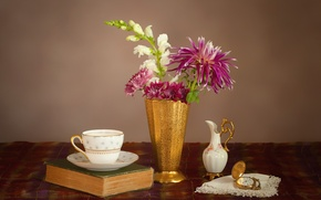 Wallpaper flowers, still life, snapdragons, watch, dishes, book, Dahlia