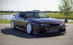 Picture nissan, turbo, wheels, japan, jdm, tuning, silvia, front, face, low, 200sx, s14, datsun, kouki