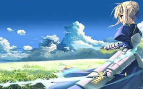 Picture the sky, grass, girl, sword, meadow, armor, The saber, enchanted sword Fate/stay night