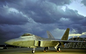 Picture hangar, the airfield, F-22, Raptor, Lockheed/Boeing, multi-role fighter, fifth generation