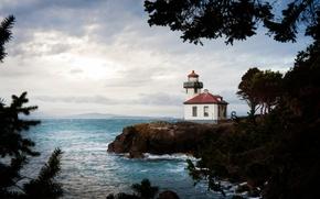 Picture sea, sunlight, Lime Kiln Lighthouse