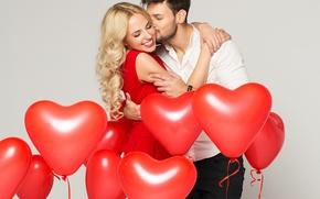 Picture girl, balls, joy, smile, tenderness, heart, feelings, hugs, male, lovers, kiss, lovers, embrace, Valentines Day, …