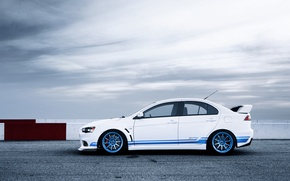 Picture white, Mitsubishi, Lancer, white, Evolution, track, Lancer, Mitsubishi, evolution