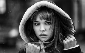 Picture cold, winter, look, girl, snow, face, the wind, sweetheart, model, hair, portrait, hands, lips, hood, …